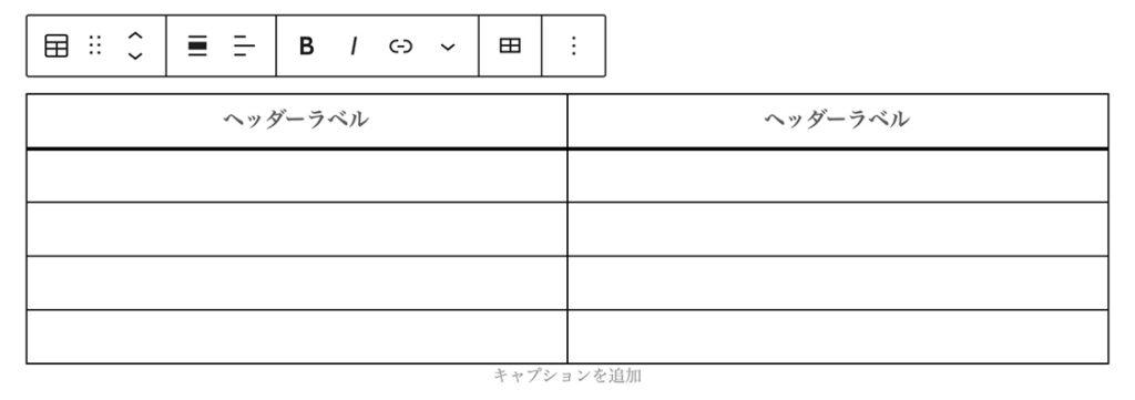 WordPressの投稿作成画面でテーブルにヘッダーセクションが追加された図