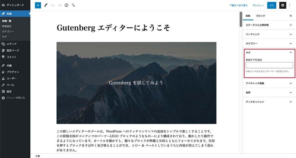 WordPress投稿作成画面のタグ設定部分
